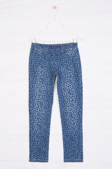 Printed cotton blend jeggings, Soft Blue, hi-res