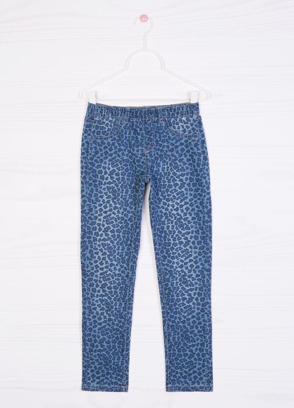 Printed cotton blend jeggings | OVS