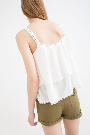 Solid colour top in 100% viscose, Milky White, hi-res
