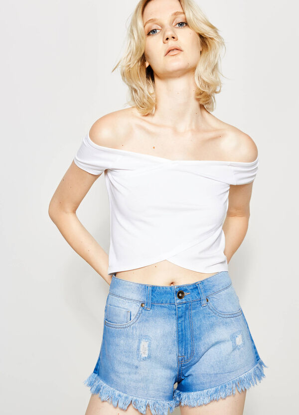 Crop T-shirt with crossover front | OVS