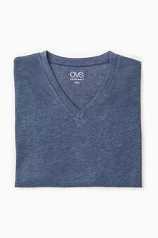 V-neck cotton undershirt, Denim, hi-res