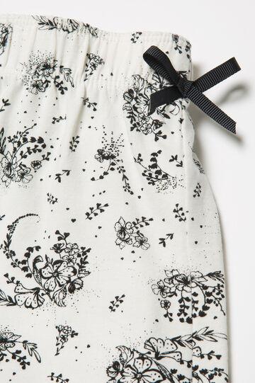 Stretch patterned pyjama trousers, White/Black, hi-res