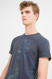 Round neck cotton T-shirt with ribbing, Blue, hi-res