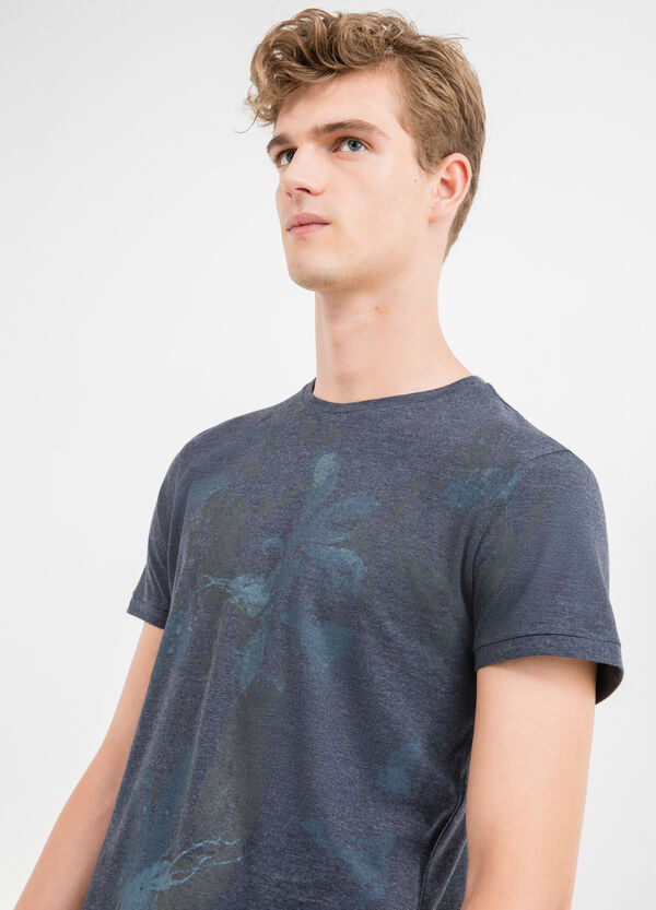 Round neck cotton T-shirt with ribbing | OVS
