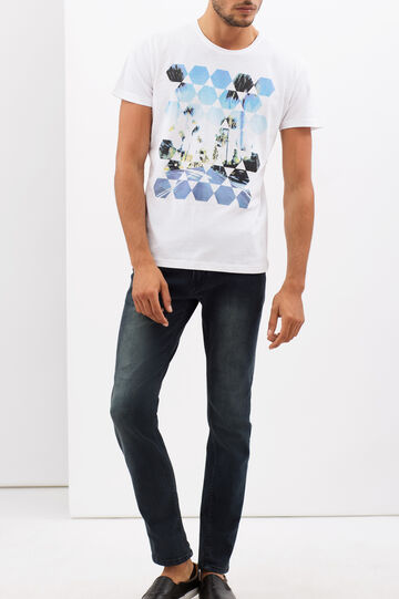 T-shirt with photographic print, White, hi-res