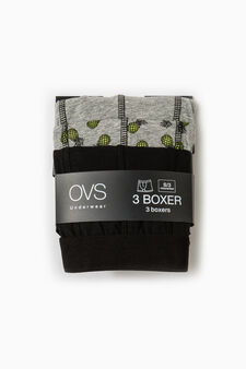 Three-pack pineapple patterned stretch boxer shorts, Black/Grey, hi-res