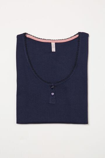 Solid colour cotton pyjama top, Navy Blue, hi-res