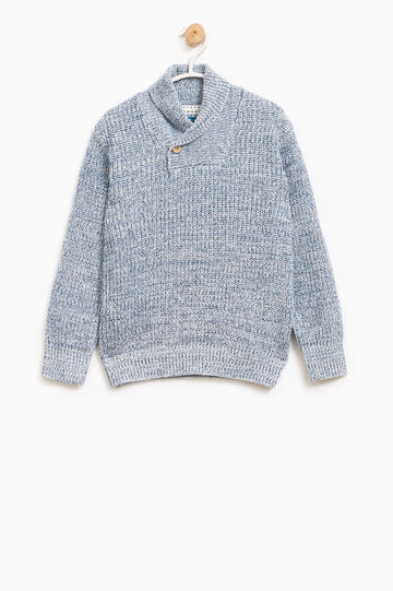 Knitted pullover with high neck, White/Blue, hi-res