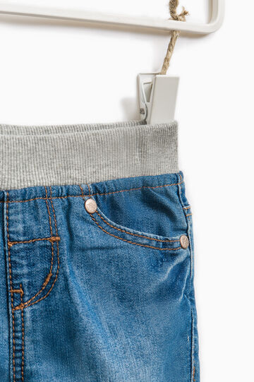 Faded jeans with elastic waist band, Soft Blue, hi-res