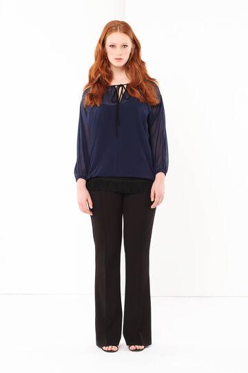 Curvyglam chiffon blouse, Black/Blue, hi-res