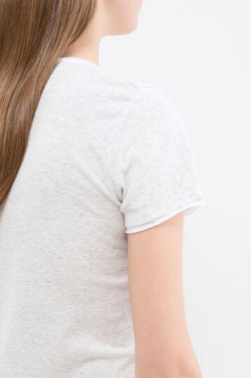 T-shirt finto doppio puro cotone, Grigio, hi-res
