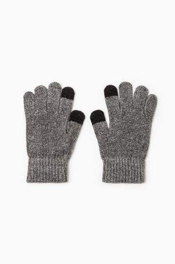 Solid colour gloves for touchscreen., Grey Marl, hi-res