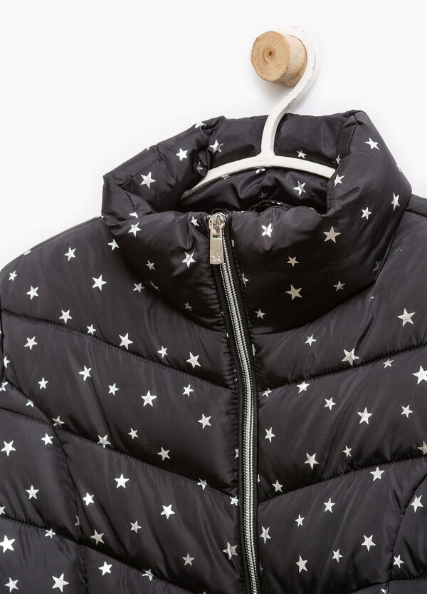 Down jacket with high neck and star pattern | OVS