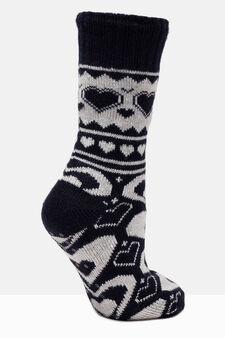 Patterned slipper socks, White/Blue, hi-res