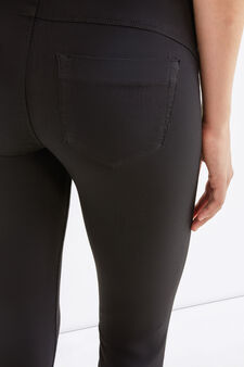Solid colour stretch rayon jeggings, Black, hi-res