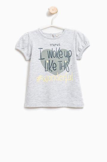 Camiseta elástica con motivo de texto, Gris jaspeado, hi-res