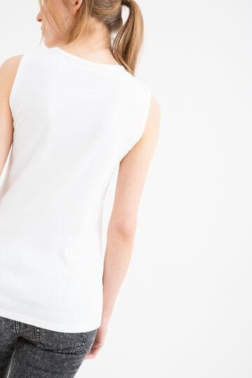 Top puro cotone tinta unita, Bianco, hi-res