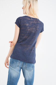 Printed cotton blend T-shirt, Navy Blue, hi-res