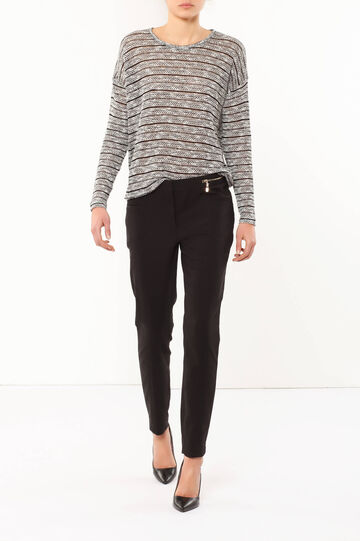 Trousers with zip, Black, hi-res