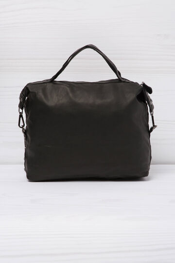 Leather look handbag, Black, hi-res