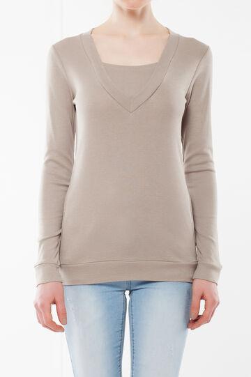 Maglietta a maniche lunghe, Marrone chiaro, hi-res
