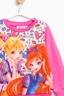Sweatshirt in stretch cotton with Winx Club print, Fuchsia, hi-res