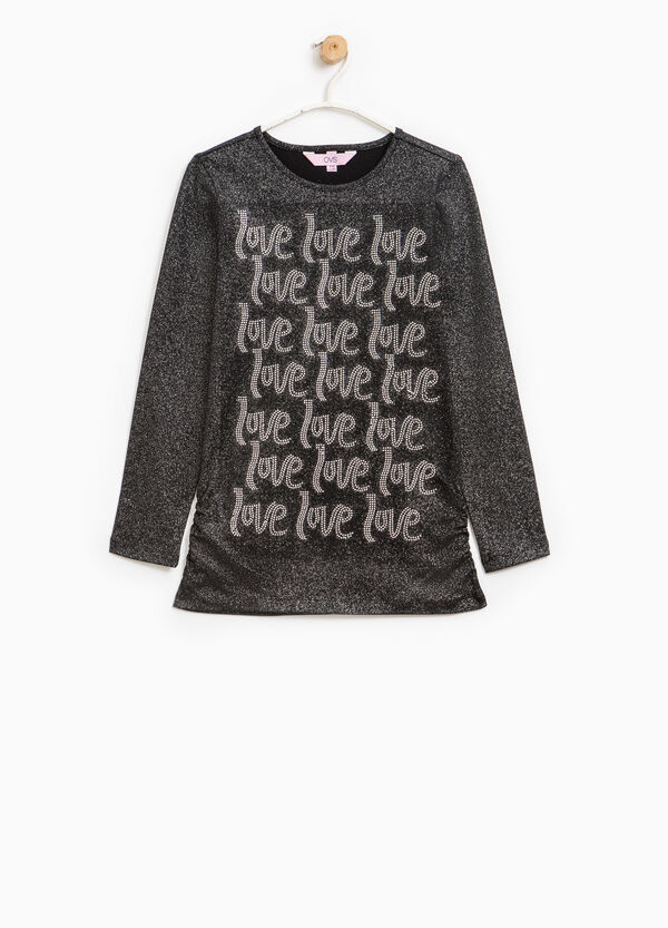 Stretch T-shirt with glitter and diamantés | OVS