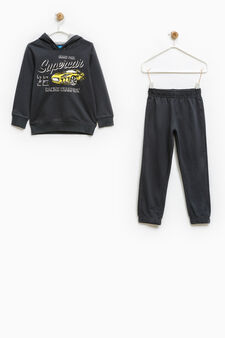 100% cotton tracksuit with hood, Dark Grey, hi-res