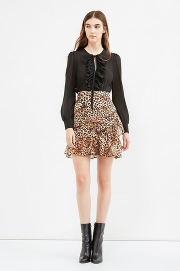 High waist skirt with all-over print, Beige, hi-res