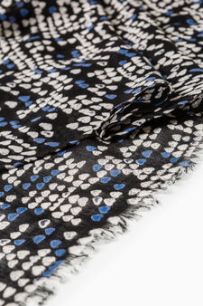Patterned scarf with fringed edges, Navy Blue, hi-res