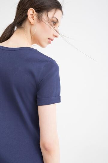 Solid colour T-shirt in 100% cotton, Blue, hi-res