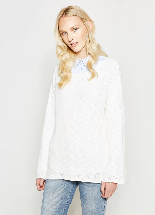 Knitted pullover with boat neck | OVS