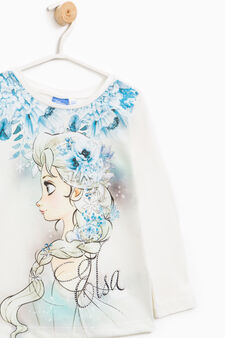 T-shirt with maxi Frozen print and diamantés, White, hi-res