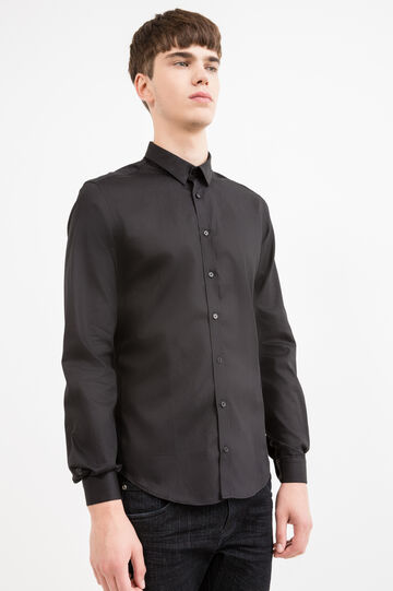Custom-fit formal shirt in 100% cotton, Black, hi-res