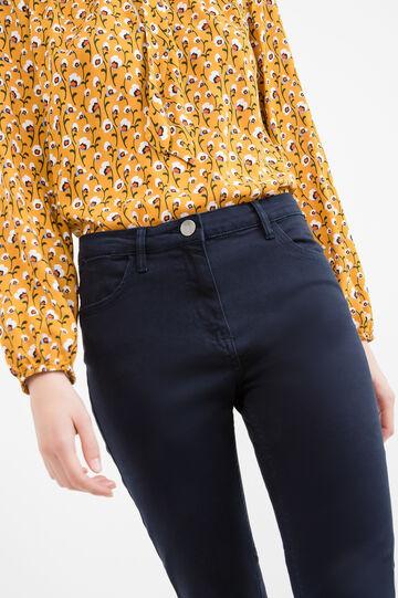 Pantaloni slim fit cotone tinta unita, Blu, hi-res