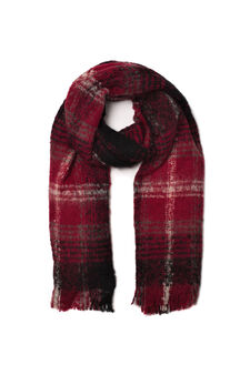 Fringed scarf, Red, hi-res