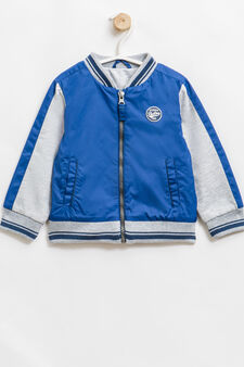Solid colour jacket with patch, Blue/Grey, hi-res
