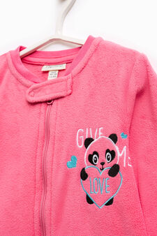 Sleep suit with panda embroidery, Coral Pink, hi-res