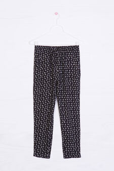 Viscose trousers with all-over print, Black, hi-res