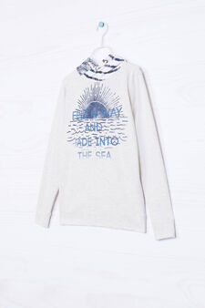 Printed sweatshirt in 100% cotton, Ecru, hi-res