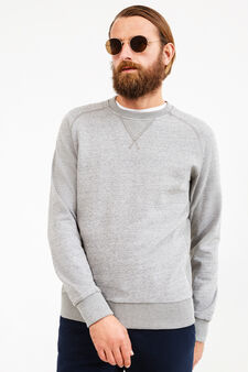 Rumford crew-neck sweatshirt with raglan sleeves, Grey Marl, hi-res