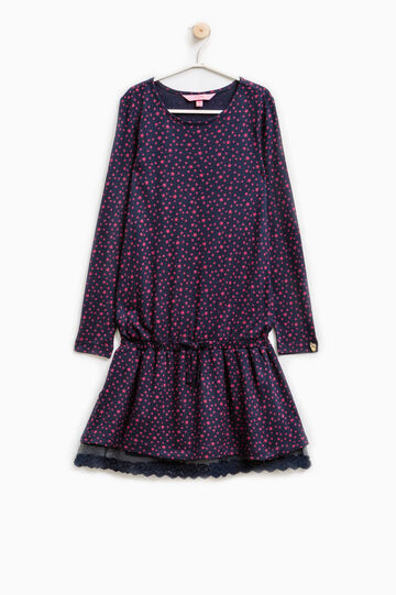 100% viscose dress with star pattern, Blue/Red, hi-res