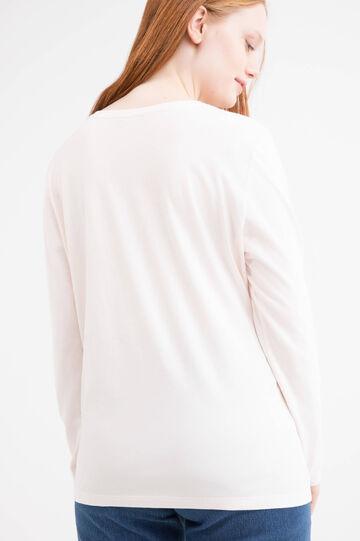 Curvy printed stretch T-shirt, Pink, hi-res
