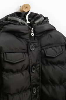 Solid colour bomber jacket with hood, Black, hi-res