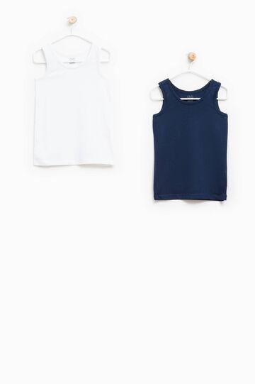 Two-pack solid colour vest tops, White/Blue, hi-res