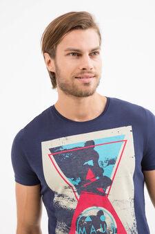 Maui & Sons cotton T-shirt print, Navy Blue, hi-res
