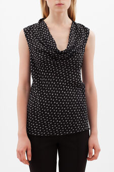 Floral blouse with drape neckline., Black/White, hi-res