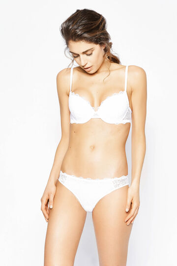 Brazilian-cut briefs with lace and bows, White, hi-res