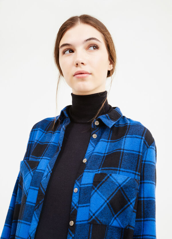 Camicia lunga in flanella a quadri | OVS