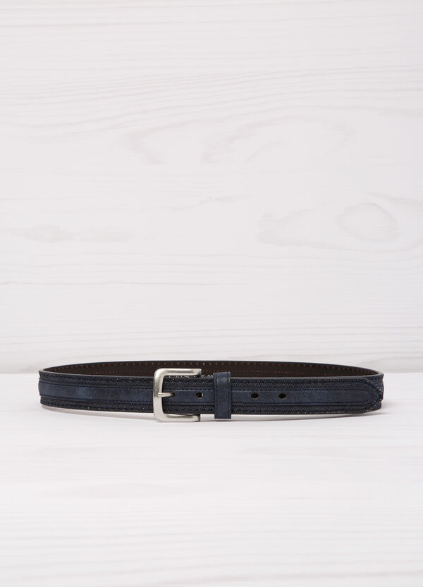 Leather look belt with central insert | OVS